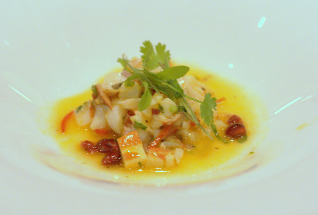 Lobster ceviche with pomegranate, passion fruit & orange dressing