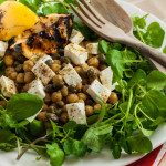 Chickpea, feta and pesto salad
