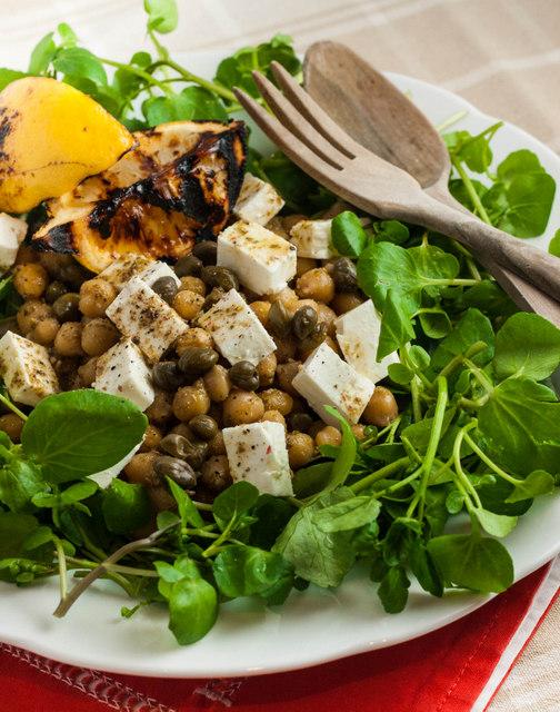 Chickpea, feta and pesto salad