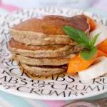 Banana, nectarine and flax seed pancakes