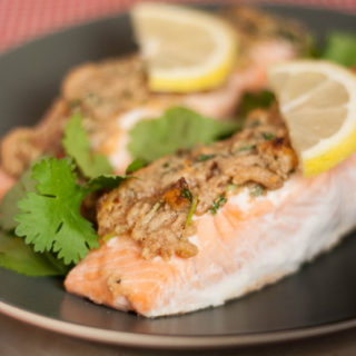 Recipe: Herby Lemon Peanut Butter Crusted Salmon