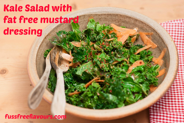 Kale Salad with Fat free mustard dressing - captioned