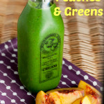 Peaches and green smoothie captioned