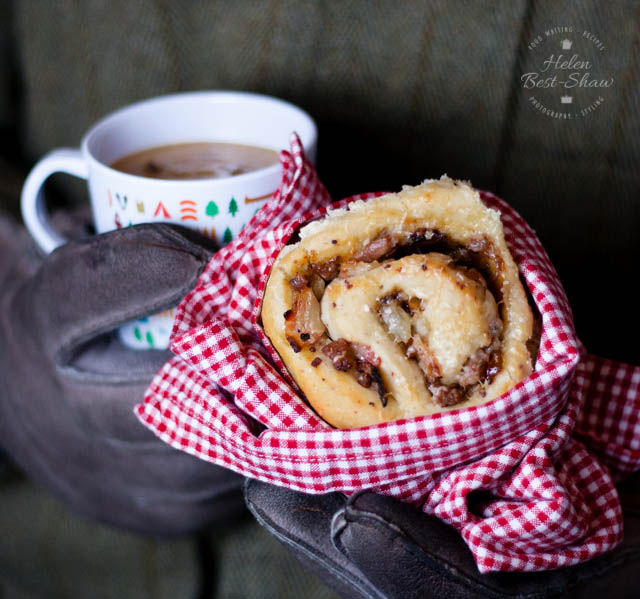 These sausage and bacon savoury bread whirls are perfect enjoyed outside by the bonfire.