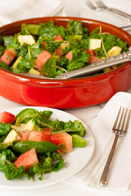 A refreshing salad made with kale, watermelon and avocado.  It is well worth getting to know raw kale - it is delicious and good for you