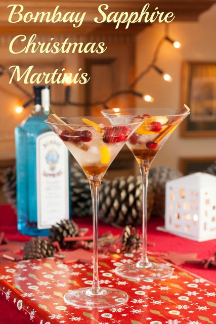 A Christmas gin martini made with Bombay Sapphire, cranberries, cinnamon, vanilla & orange