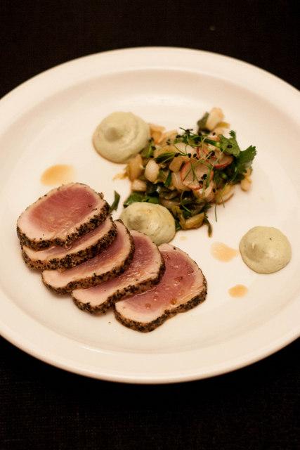 Seared black pepper tuna