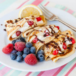 A classic English crêpe style pancake, but gently flavoured with vanilla from a Jelly Belly French Vanilla Milkshake.
