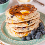 Mango blueberry pancakes with syrup