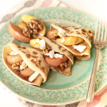 Flip a basic pancake recipe around by adding some cider to your pancake apple and serving with caramalised apples, goats' cheese and walnuts.