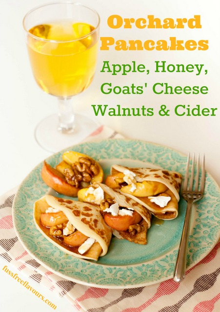 Orchard Pancakes with cider, walnuts and honey apples