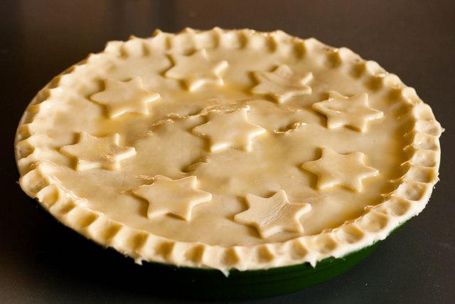 Uncooked Ox Cheek Pie in Le Creuset dish