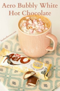 A warming hot chocolate made with Aero bubbly white chocolate.