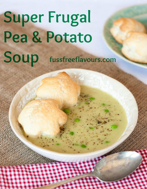 Super frugal pea and potato soup is brightened with a squeeze of lemon
