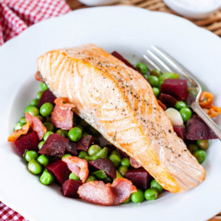 Salmon with peas, beetroot and bacon