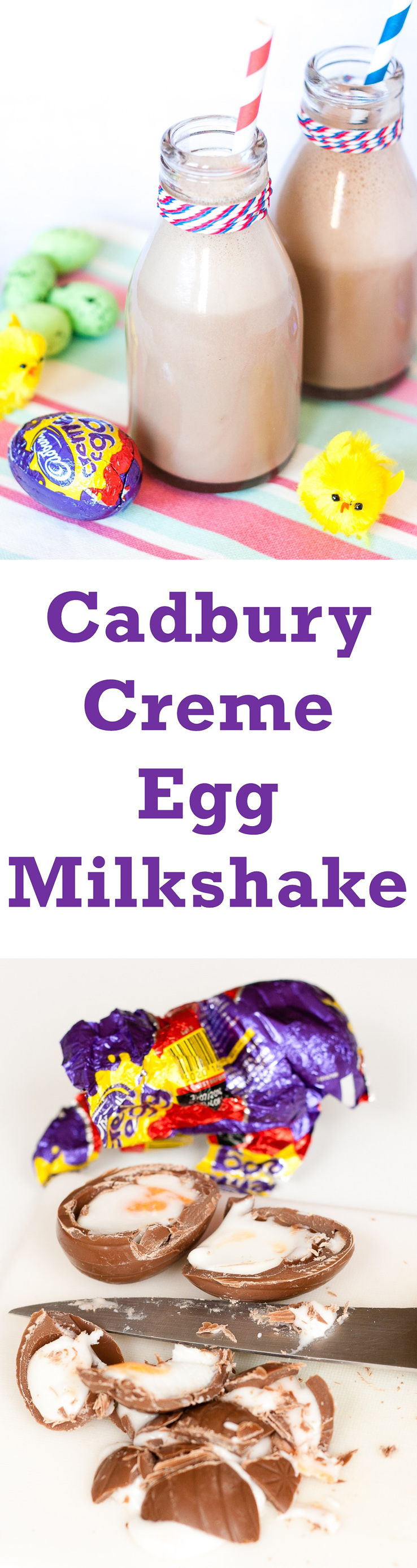 Delicious indulgent easy to make Cadbury Creme Egg Milkshake - perfect for a treat this Easter
