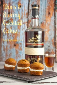 Dark & Stormy Cocktail cakes made with ginger cakes filled with a rum cream