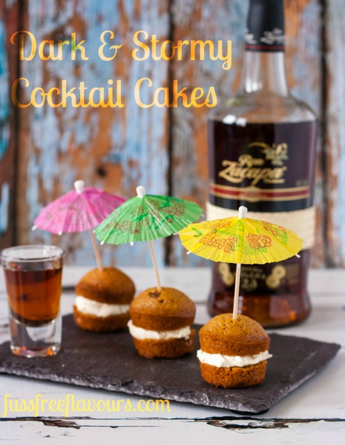 Dark and stormy mini cocktail cakes