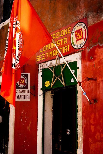 Flying the red flag Castello Quarter of Venice