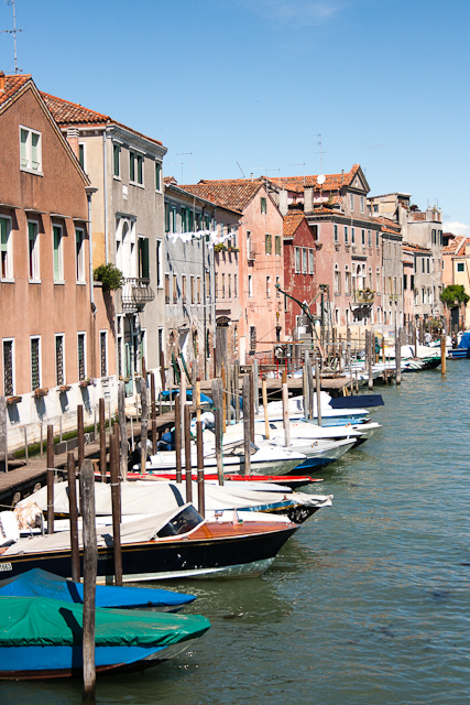Boats, rather than cars lined up outside people's homes, Castello Quarter of Venice-3