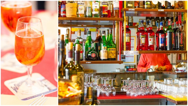 Spritz -  Aperol + white wine (usually Prosecco) + Seltz (sparkling water) and the bar at La Palanca, Giudecca, Venice