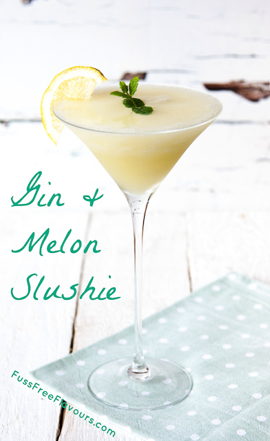 This gin and melon slushie cocktail is perfect and refreshing for the hottest days of summer. Whizz in the blender and freeze!