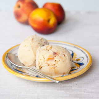 Baked Nectarine and Honey Ice Cream