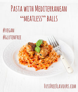 A vegan and gluten free version of the traditional pasta and meatballs