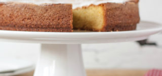 Olive oil, orange and oregano cake sliced - captioned