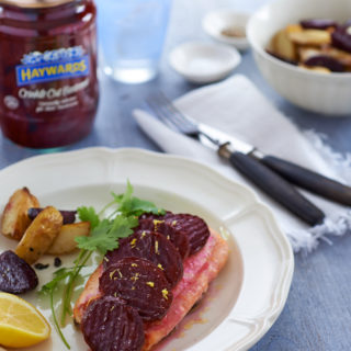 Beetroot with Baked Salmon with Roasted New Potatoes