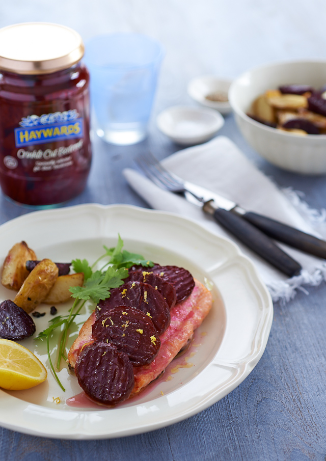 Hayward's Beetroot with Baked Salmon with Roasted New Potatoes_