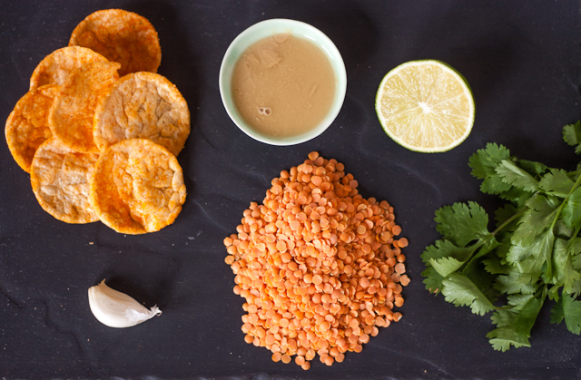 Red lentil lime & coriander hummus Ingredients