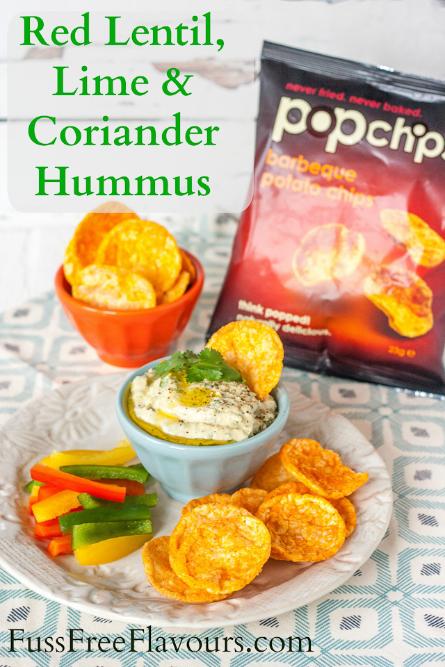 An easy recipe for a healthy red lentil hummus flavoured with lime and coriander