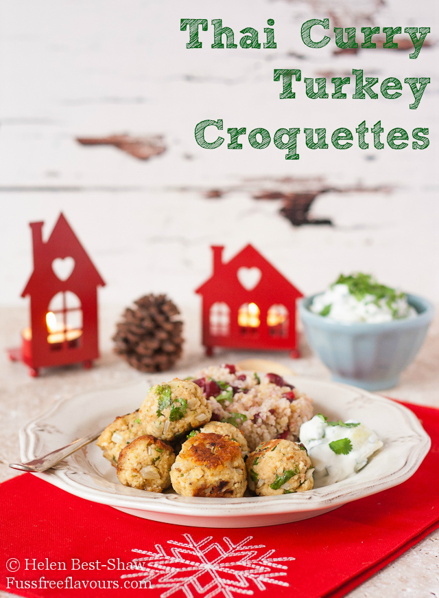 These Thai curry flavoured turkey croquettes, served with jewelled cranberry mixed grains, are ideas for Christmas or Thanksgiving turkey leftovers.