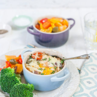 Baked Rice and Egg Pots with Roasted Vegetables