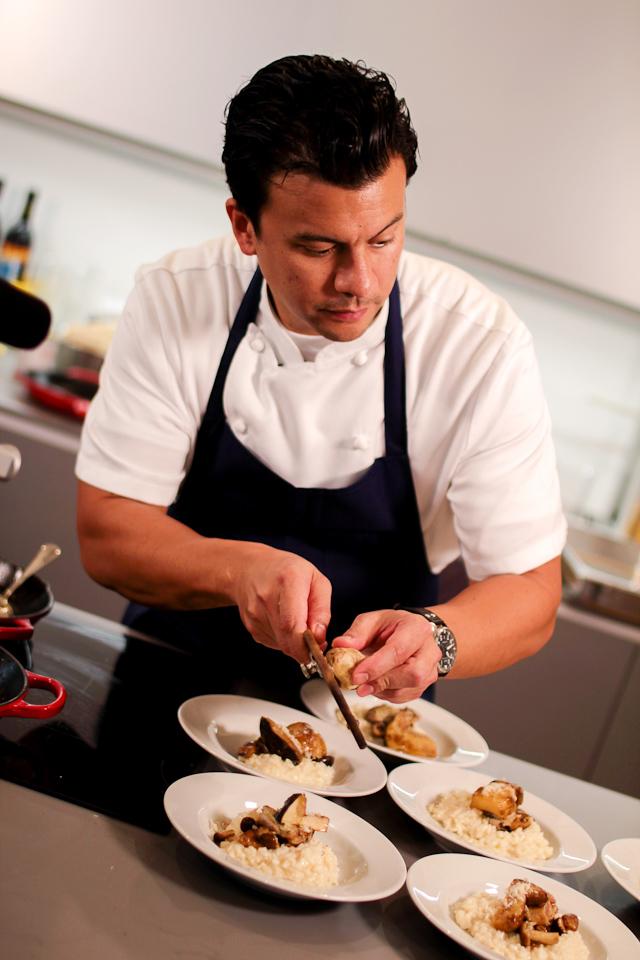 Celebrity Cruise's Executive Chef John Suley using a rare white truffle. Photo courtesy Celebrity Cruises.