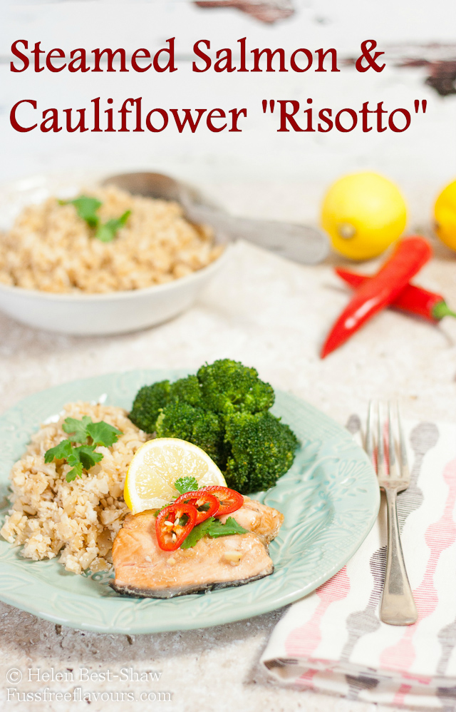 Steamed salmon with cauliflower risotto