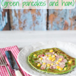 Green spinach pancakes with a pizza topping