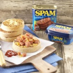 SPAM and Cheese Crumpets with tub and can