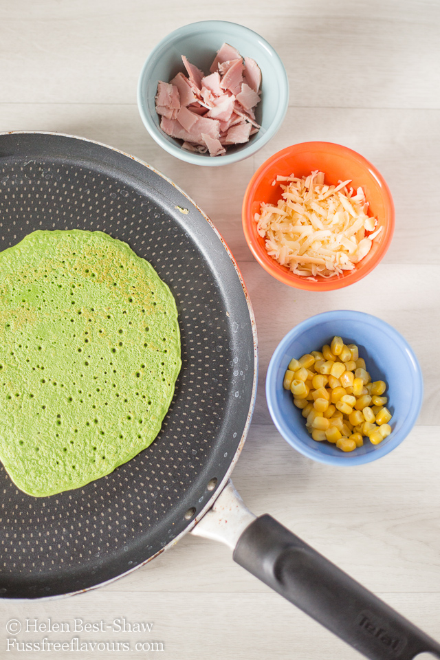 Pizza toppings for a spinach pancake