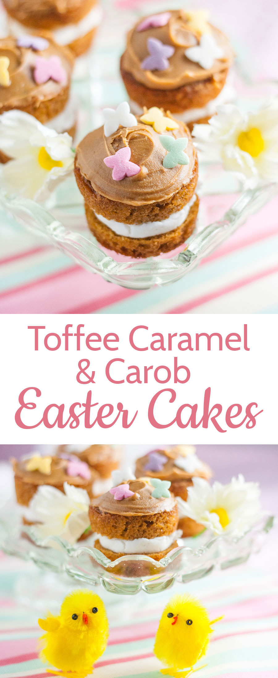 These adorable mini toffee caramel flavoured cakes are perfect for Easter.