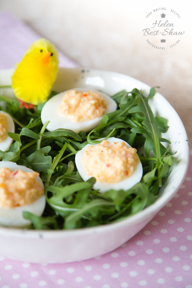 Easy Cheesy Chilli Devilled Eggs - A simple delicious vegetarian snack, perfect for the Easter holidays.