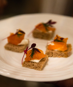 Gin cured salmon with home made rye bread