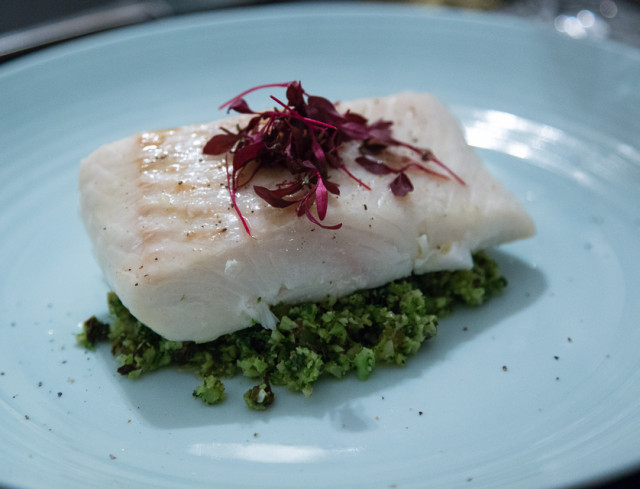 Halibut with salt baked shallots and broccoli tabboouleh