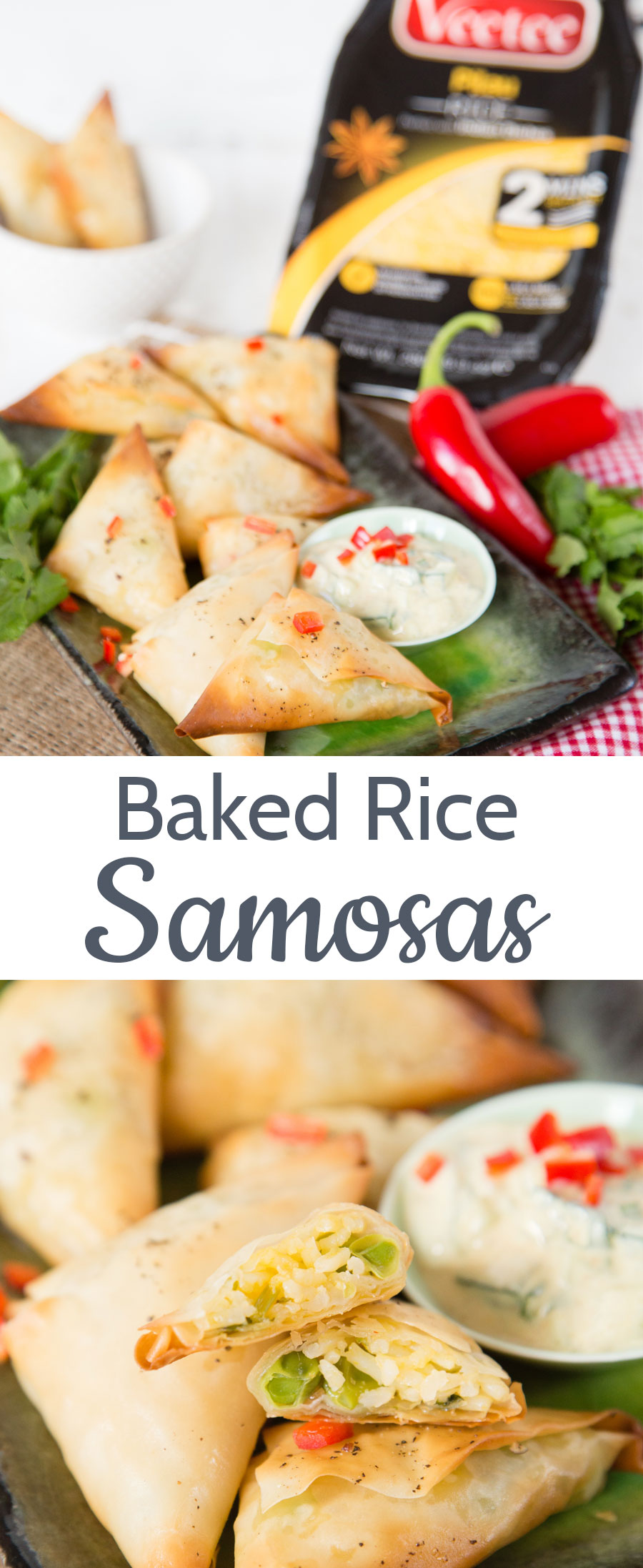 Easy to make crispy baked samosas filled with rice and peas