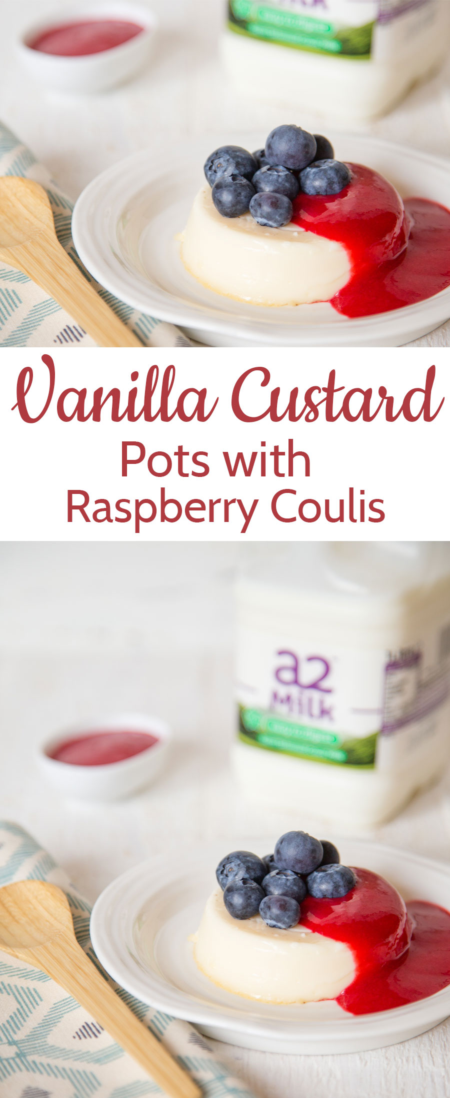 A super easy recipe for vanilla baked custards served with raspberry coulis
