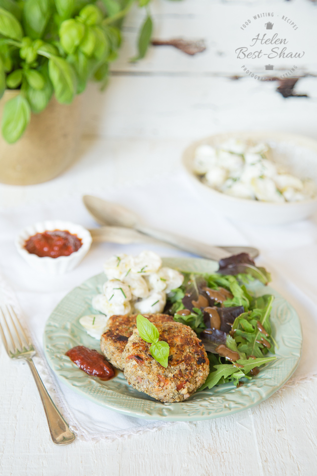 An easy recipe for chicken burgers with added superfoods quinoa and chia flavoured with basil and sun dried tomatoes