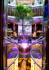 Tree in the lift atrium on board Celebrity Eclipse