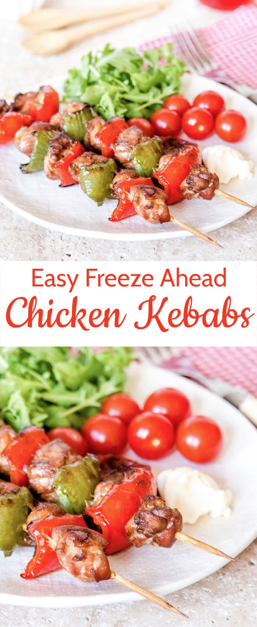 Easy flavorsome tender chicken kebabs - prep in advance by freezing in the marinade