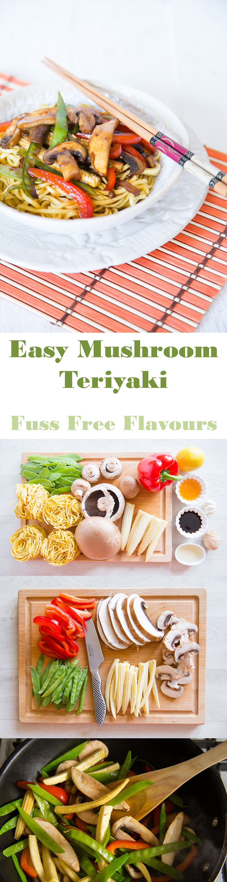 An easy vegetarian recipe for mushroom teriyaki that is bursting with colour, flavour and vegetables | Fuss Free Flavours